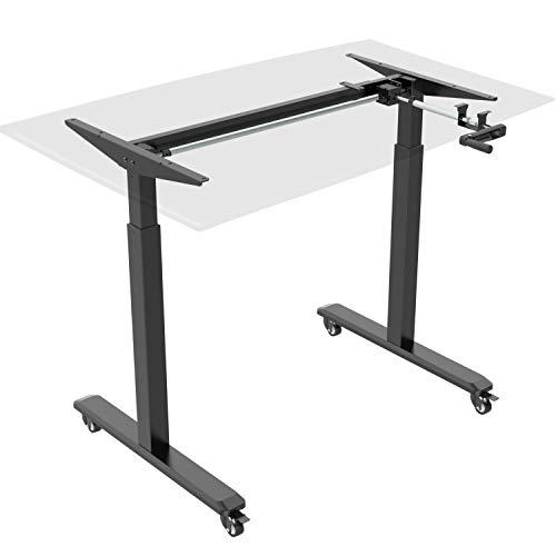 HOKO® Ergo-Work-Table Höhenverstellbarer Schreibtisch, Tischfüße Basic Schwarz, manuell, für Tischplatten ab 2,5cm. Inkl. Rollen und Standfüße. Ergonomisches Arbeiten im Sitzen und im Stehen!