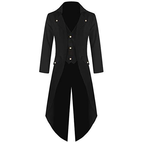 erthome Manteau pour Homme Knight Queue-de-Pie Veste Gothique Redingote Uniforme Costume Party vêtement - Noir - Taille Unique