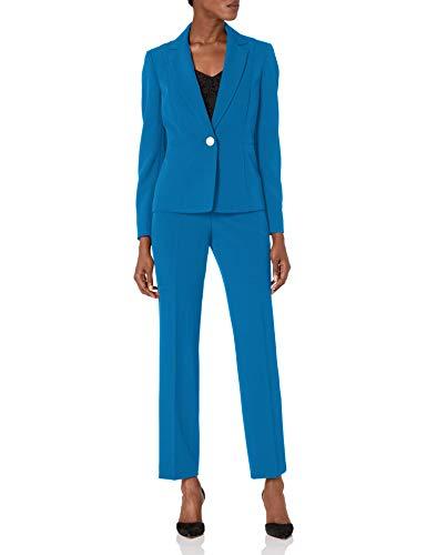 Le Suit Women's Petite 1 Button Notch Collar Crepe Slim Pant Suit, Imperial Blue, 12P
