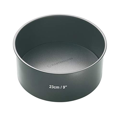 masterclass Master Class Tiefe runde Antihaft-Kuchenform mit losem Boden, Stahl, Grau, 23 x 23 x 8 cm