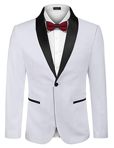 COOFANDY Men's Slim Fit Stylish Casual One-Button Suit Coat Jacket Business Blazers, White, XX-Large