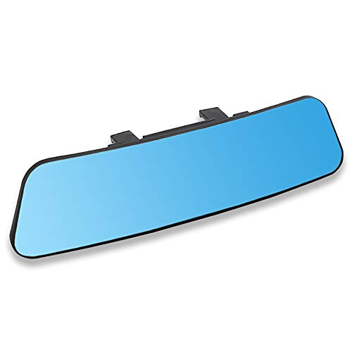 SkycropHD Anti Glare Car Interior Rear View Mirror Clip-on Wide Angle Rearview Mirror to Eliminate Blind Spots – Convex, Blue,11.8in (300mm)