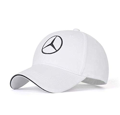 Xuncar 車のロゴ調整可能な野球帽、男女兼用帽子旅行キャップ車F1レースモーター帽子 (メルセデスベンツMercedes Benz-白い (1))