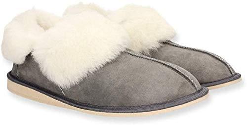 Yeti&Sons handgefertigte Mokassin-Stiefel für Damen, 100 % Schafsleder, Grau - grau - Größe: 39.5/40 EU