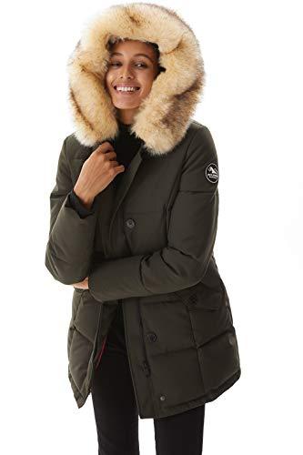 Winter Jacket for Women, Molemsx Winter Coat for Women Outdoor Windproof Waterproof Ski Jacket Womens Warm Puffer Coat Parka Jacket with Fur Trimmed Hood Khaki Shell Snowboarding Coats Large