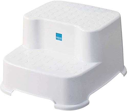 Escalera plegable Taburete de pasos infantiles blancos, taburete de 2 pasos Taburete PP de plástico Espesano antideslizante Baño de baño pequeño banco pequeño banco bajo taburete baby lavabo inodoro h