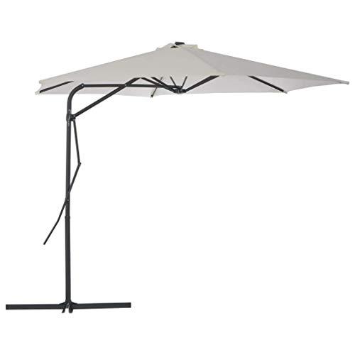 CHHD Garden Parasols Outdoor Parasol with Steel Pole 300 cm Sand Home Garden Lawn Garden Outdoor Living Outdoor Umbrellas Sunshades