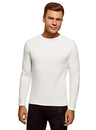 oodji Ultra Homme Sweat-Shirt Basique en Coton, Blanc, FR 50 / M