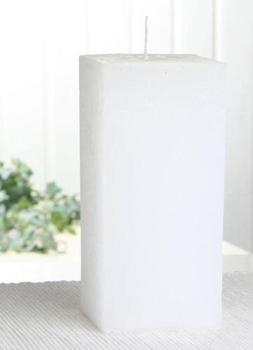 Rustik-Stumpenkerze, viereckig, 15 x 7,5 x 7,5 cm Ø, weiß
