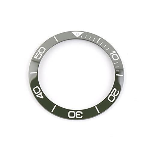 ZRNG 39mm Luminoso Negro Azul cerámico Bisel Inserto 41mm dial Ajuste para longines hidroconquest l3 Reloj Relojes de Cara Accesorios de reemplazo (Color : Green)