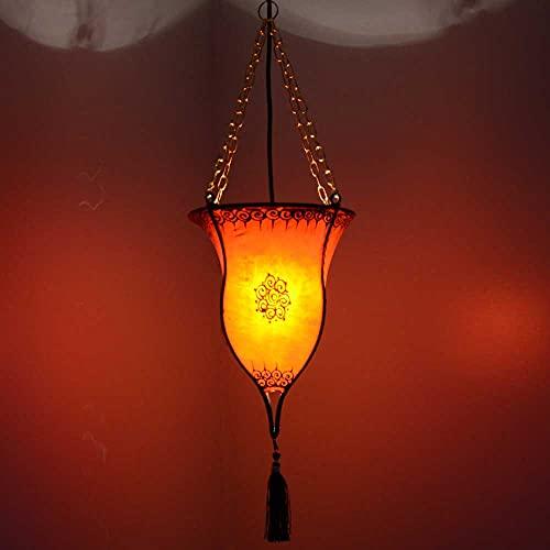 Lámpara de techo oriental con forma de copa naranja, 20 x 60 cm (diámetro x altura), de piel auténtica, estructura de metal 210228