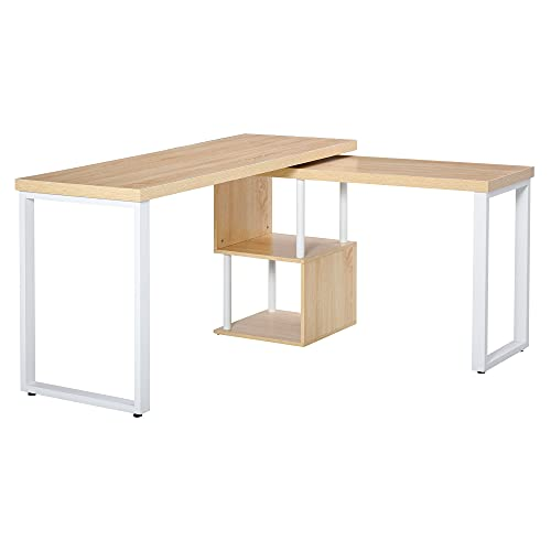 HOMCOM 360° Rotating Corner Desk L-Shaped PC Workstation Student Writing Table with Storage Shelf Home Office Oak Tone