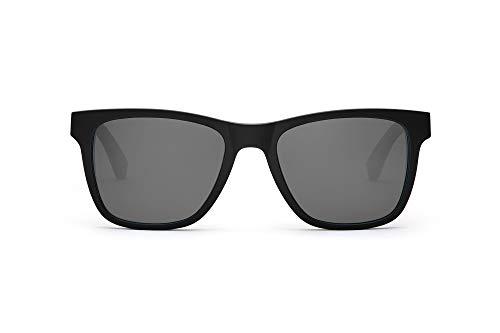 TAKE A SHOT – Eckige Holz-Sonnenbrille Herren, Holz-Bügel, Kunststoff-Rahmen, UV400 Schutz, rückentspiegelte Gläser, Iron Heinrich