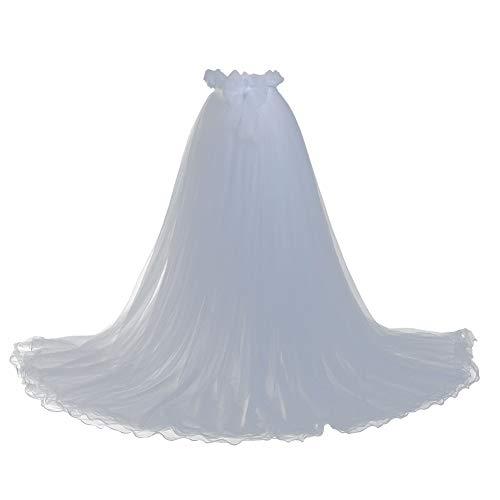 GRACEART Damen Lange Tüll Röcke Abschlussball Abend Rock Elastic Bund Tutu (Weiß)