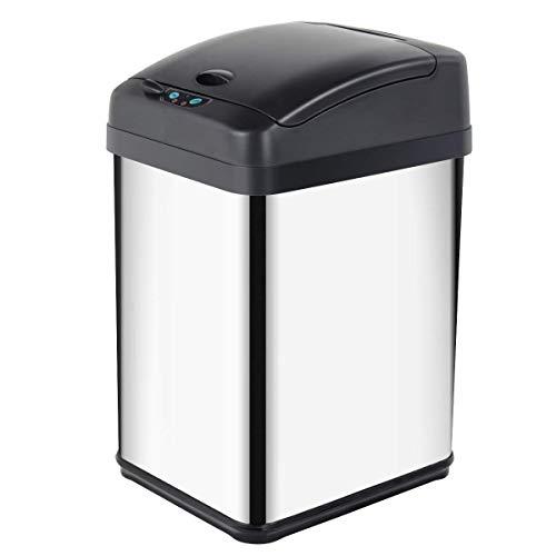 Display4top Cubo de Basura Sensor, Acero Inoxidable Cocina Cuarto de baño Desodorante Bote de Basura (30L)