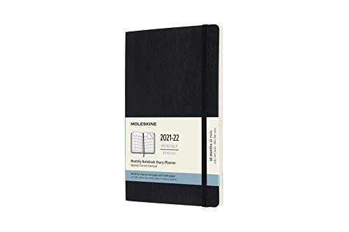 Moleskine - Agenda Mensual de 18 Meses, Agenda 2021/2022, Agenda Mensual con Tapa Blanda y Cierre Elástico, Tamaño Grande 13 x 21 cm, Color Negro, 128 Páginas