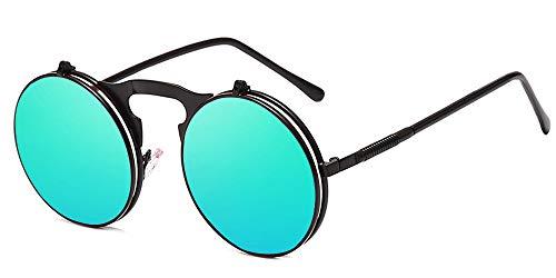 BOZEVON Flip up Runden Sonnenbrille - Metall Steampunk Retro Kreis Brillen für Herren & Damen Schwarz Grün