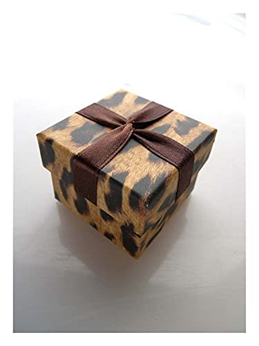 Papier Schmuckschatulle Ohrringe Box Leopard-Druck-Band-Ring-Kasten Geschenkboxen Anzeigen 4.5 * 4.5 * 3.5cm 1 Stück (Color : 1)