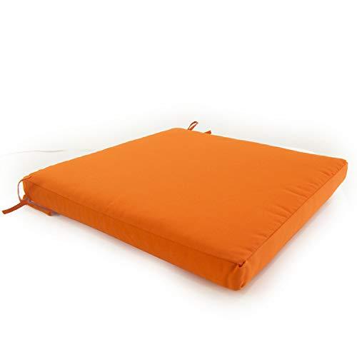 Edenjardi Cojín para sillas de jardín Color Naranja, Tamaño 44x44x5 cm, Repelente al Agua, Desenfundable