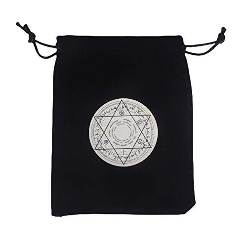 thorityau - Borsa porta carte di tarocchi, con coulisse, motivo rune celtico e cartoncino, in velluto spesso e leggero, per appassionati di tarocchi, maghi