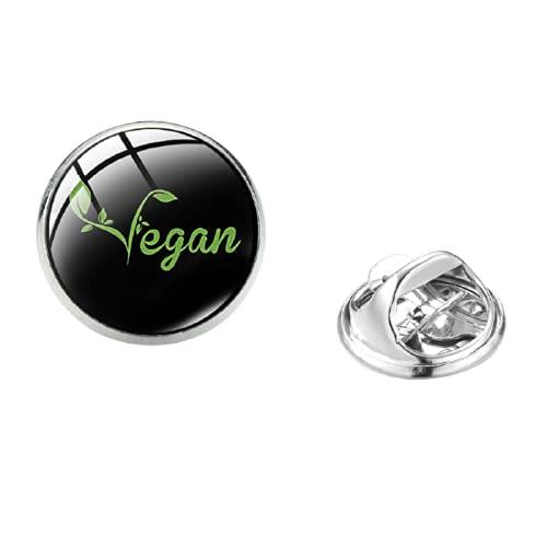 I Am Vegan Edelstahl-Brosche, handgefertigt, Glaskristall, Mode, Kleidung, Handtasche, dekoriert, für vegetarisches Geschenk