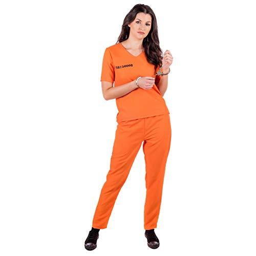 Fun Shack Orangenes Häflting Kostüm für Damen, Sträflingskostüm - XL