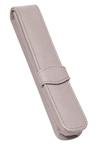 ONLINE Lederetui Hellgrau für einen Stift, Kugelschreiber-Etui, für Schreibgeräte aller Marken, Echtleder, verschiedene Farben, Geschenkidee für jeden Anlass, Maße: (LxBxH) 14,5 x 2,5 x 2,5 cm