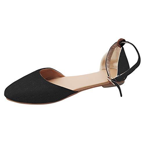 YWLINK Retro Damen Sommer Flache Schuhe Pointed Toe Atmungsaktiv Bequem Pump Sandalen Ankle Schnalle(Schwarz,EU 39.5)
