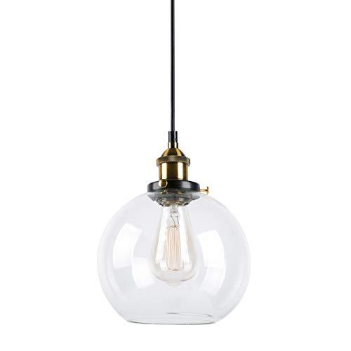 Huahan Haituo Pendelleuchte Light Vintage industriellen Metall-Finish Klarglas Glaskugel Runde Schatten Loft Pendelleuchte Lampe Retro Decke Licht Vintage Lamp(Durchsichtig,20CM)