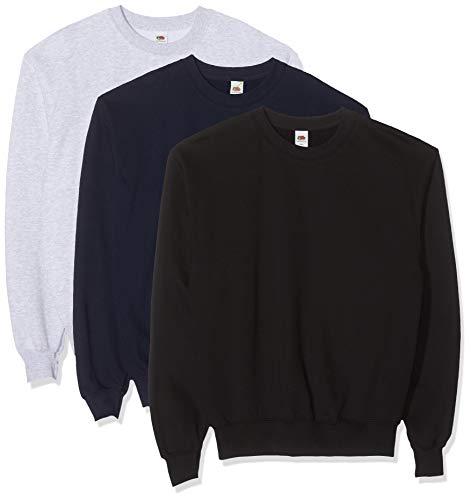 Fruit of the Loom Herren Classic Set In Sweat, 3 Pack Sweatshirt, Mehrfarbig (Black/Heather Grey/Deep Navy 26), X-Large (3er Pack)