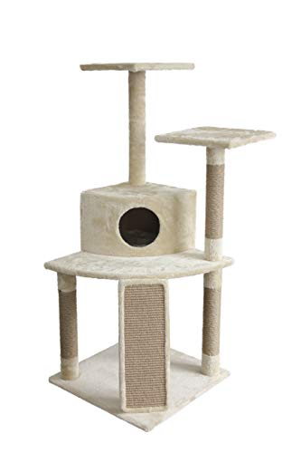 AmazonBasics Cat Condo Tree Tower with Cave And Ramp  295 x 27 x 52 Inches Beige