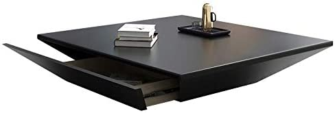 Homary Modern Living Room Wood Square Low Coffee Table, Coffee Table with Drawer Storage Drum (Black)