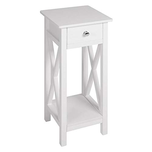 INMOZATA Telephone Table Tall Slim with Drawer End Table Side Table Corner Bedside Table for Living Romm Bedroom Hallway White