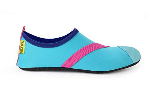 FitKicks Original Women's Foldable Active Lifestyle Minimalist Footwear Barefoot Yoga Sporty Water Shoes (Large, Blue V2)…