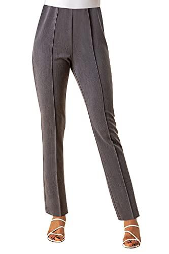 Roman Originals Mujeres 28 pantalones formales señoras tire en pantalones Jersey estiramiento cónico traje profesional inteligente casual trabajo oficina entrevista negocios tobillo recto, gris, 46
