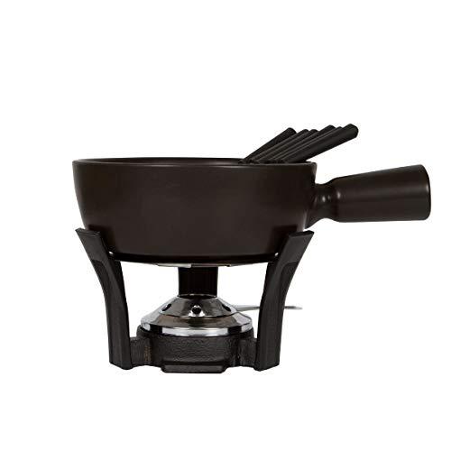 Boska Set de Fondue Nero - Cacerola para Fondue con 6 Tenedores de Fondue - Base de Hierro Fundido - Apta para el lavavajillas - Negro - 1L