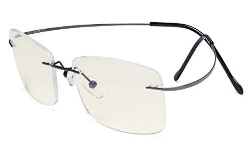 Eyekepper Sin montura Gafas de ordenador bloqueo de luz azul Hombres - Cortar UV Titanio Protección de pantalla Gafas de lectura - Bronce +1.50