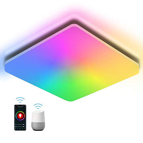 Oeegoo Wifi Lámpara LED de techo, plafon techo regulable RGB 24W 2400LM, Bluetooth lampara de techo inteligente, compatible con Alexa/Google Home, IP54 Plafón LED para baño, salón, habitacion infantil