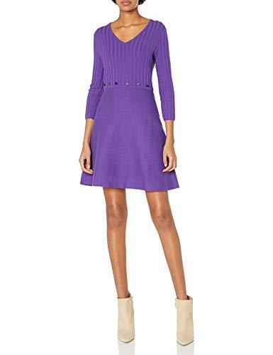Armani Exchange AX Damen Mid Length Tight Long Sleeve Dress with Studs on Waist Legeres Abendkleid, Morositas, Klein
