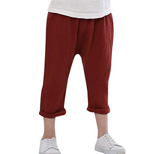 Sunenjoy Pantalon Garçon Fille Sarouel Élastique Pantalon Coton Lin Jogging Running Loose Casual Mode Mignon pour Enfant 2-8 Ans (3-4 Ans, Rouge)