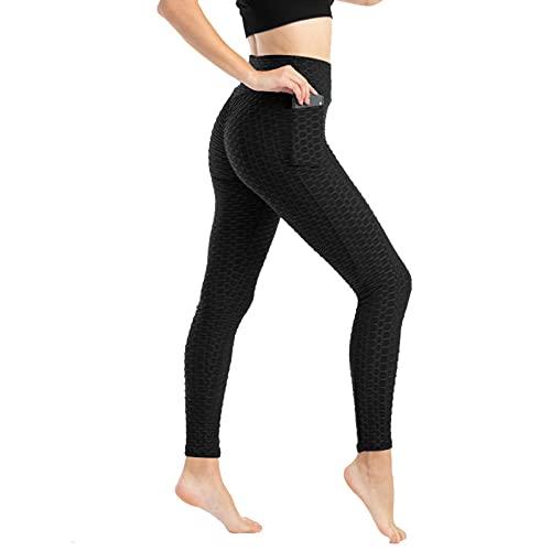 RENDONG Mallas de Cintura Alta para Mujer, Leggings De Realce De Glúteos, Sin Costuras, para Entrenamiento Y Gimnasio,Negro,L