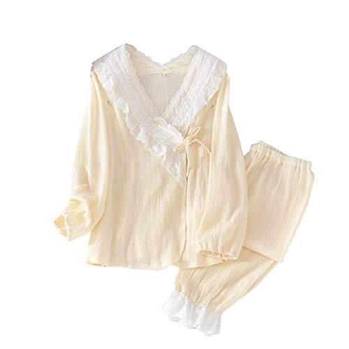 LaoZan Damen Umstandskleid Set 2Pcs Lose Leicht zu Stillen Stillnachthemd Schlafanzug Lang Pyjama Mit Langhose (Beige,Asia XL)