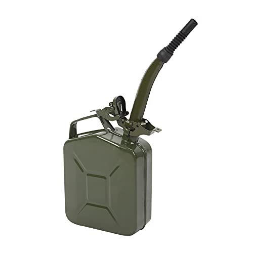 Durable Oil Barrel; 0.6mm Metal & Plastic Made Fuel Tank Fluid Systems Oil Jug Oil Dispenser with Inverted Oil Pipe; Used for Fuel; 5L Capacity; Army Green - Reliable Choice