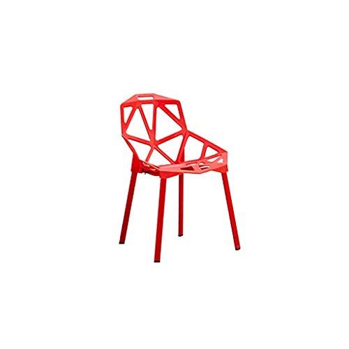 HLY Silla trasera, silla de plástico Volver a casa Plástico Personalidad Arte Tienda de té Mesa y sillas Mesa de comedor Silla Durable,rojo
