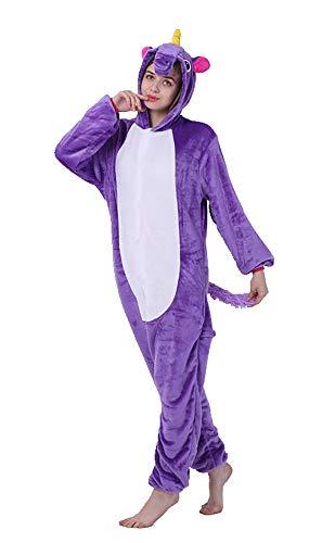 FunnyCos Pijama unisex de una pieza para adultos, diseño de animal, para cosplay Unicornio lila. M