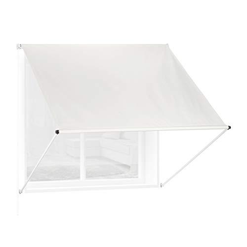 Relaxdays Fallarmmarkise HxB: 120x150 cm, Schattenspender für Fenster, 50+ UV-Schutz, Seilzug, Polyester & Metall, beige