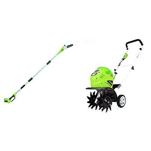 Greenworks 8′ 40V Cordless Pole Saw, Battery Not Included 20302 with 10-Inch 40V Cordless Cultivator, Battery Not Included 27062A