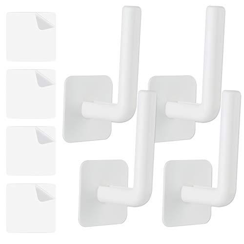 NiHome Multi-Purpose Plastic Wall Mount Pot Lid Holder Paper Towel Dispenser 4PCS Large Plastic Hooks Punch-Free Strong Adhesive Hanger Rack Storage Organizer Home Kitchen Bathroom Under Cabinet Attom