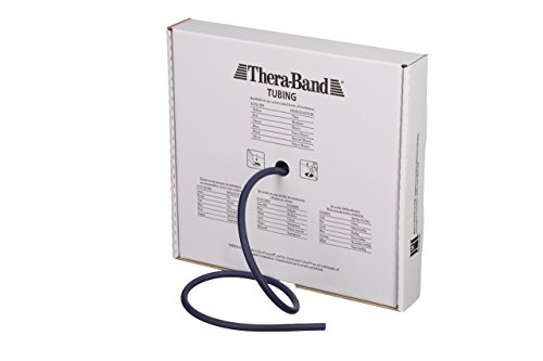 TheraBand Resistance Tubes, Professional Latex Elastic Tubing for Full Body, Core Exercise, Physical Therapy, Lower Pilates, at-Home Workout, & Rehab, 25 Foot, Blue, Extra Heavy, Intermediate Level 2