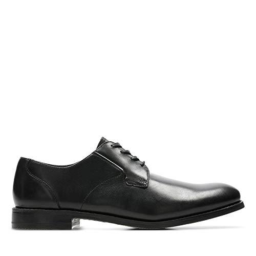 Clarks Herren Edward Plain Derbys, Schwarz (Black Leather), 47 EU
